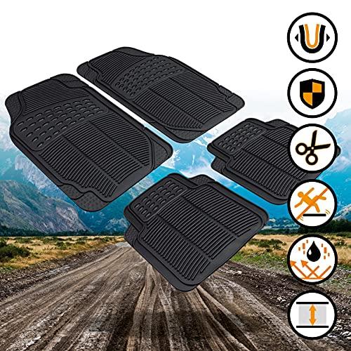 Walser Universal Auto Gummimatten Set Spartakus 4-teilig zuschneidbare Fußmatten für PKW schwarz 28036