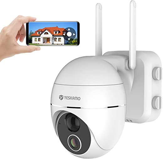 YESKAMO Pan Tilt Security Camera Wireless Indoor/Outdoor, 15000mAh Rechargeable Battery WiFi Camera 2 Way Audio, PTZ Battery Operate IP Camera PIR Detection, 360° View Video Home Surveillance System