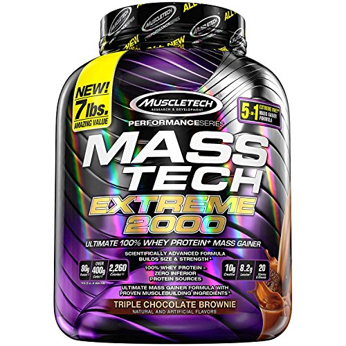 Muscle Tech Mass Tech Extreme 2000 Package of 1 x 3180g Gainer Mass Carbohydrate Complex Whey Protein Concentrate and Isolate Triple Chocolate Brownie
