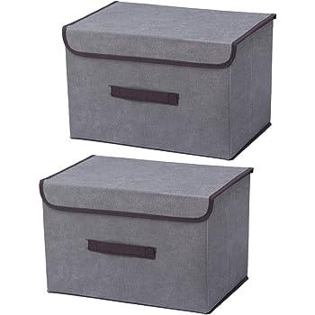 Cajas de almacenaje,Set de 2 Cajas de Almacenaje Cubos de Tela Organizador Plegable con Tapa y Ventana de Etiqueta 36 x 23 x 24 cm: Amazon.es: Hogar