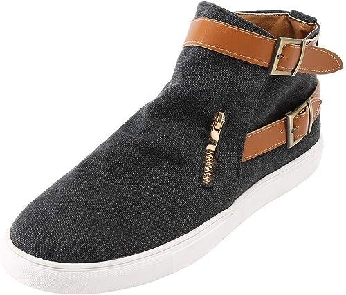 ZHRUI Les Les dames Chaussures Femmes Bottes élégantes Bottines Vintage Plat Toe Toile Chaussures Confortables Semelles Zipper Simple Chaussures Bottes d'hiver (Couleuré   Noir, Taille   39 EU)