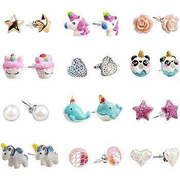 Amazon.com: SkyWiseWin Hypoallergenic Unicorn Earrings Set Little Girls,  Children's Colorful Cute Earrings for Kids: Clothing