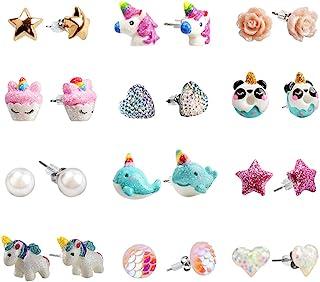 SkyWiseWin Hypoallergenic Earrings Set for Little Girls, Children's Colorful Cute Unicorn Earrings for Kids