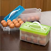 ZIXAD Double Layer 24 Egg Storage Box for Refrigerator Kitchen Food and Vegetable Egg Storage Container(Multicolor)