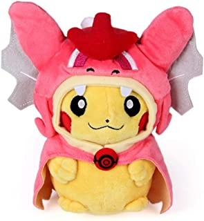 WAREHOUSEDEALS Inspired by Pikachu Plush Toys Doll Stuffed Pink with Magikarp Hooded Cape Gyarados Plush Soft 10in
