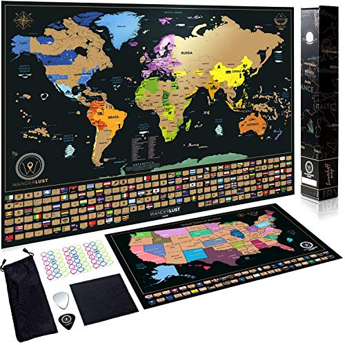 Scratch Off Map of the World + USA Map - Set of Two Deluxe Gold Scratch-Off Travel Posters with...