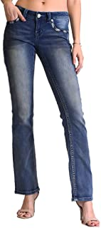 Women's Feather Embellished Easy Bootcut Jeans | EB-61279