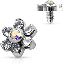Body Accentz Dermal Anchor Top Prong Crystal Flower 316L Surgical Steel Internally Threaded 4mm top 14g