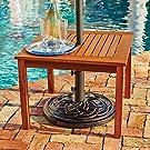 Outdoor Natural Finish Eucalyptus Wood Umbrella Side Table End Table Patio Pool Furniture