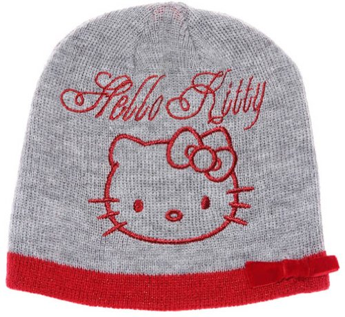 Hello kitty-Bonnet noeud velours enfant fille ref 4338 gris 5/8ans