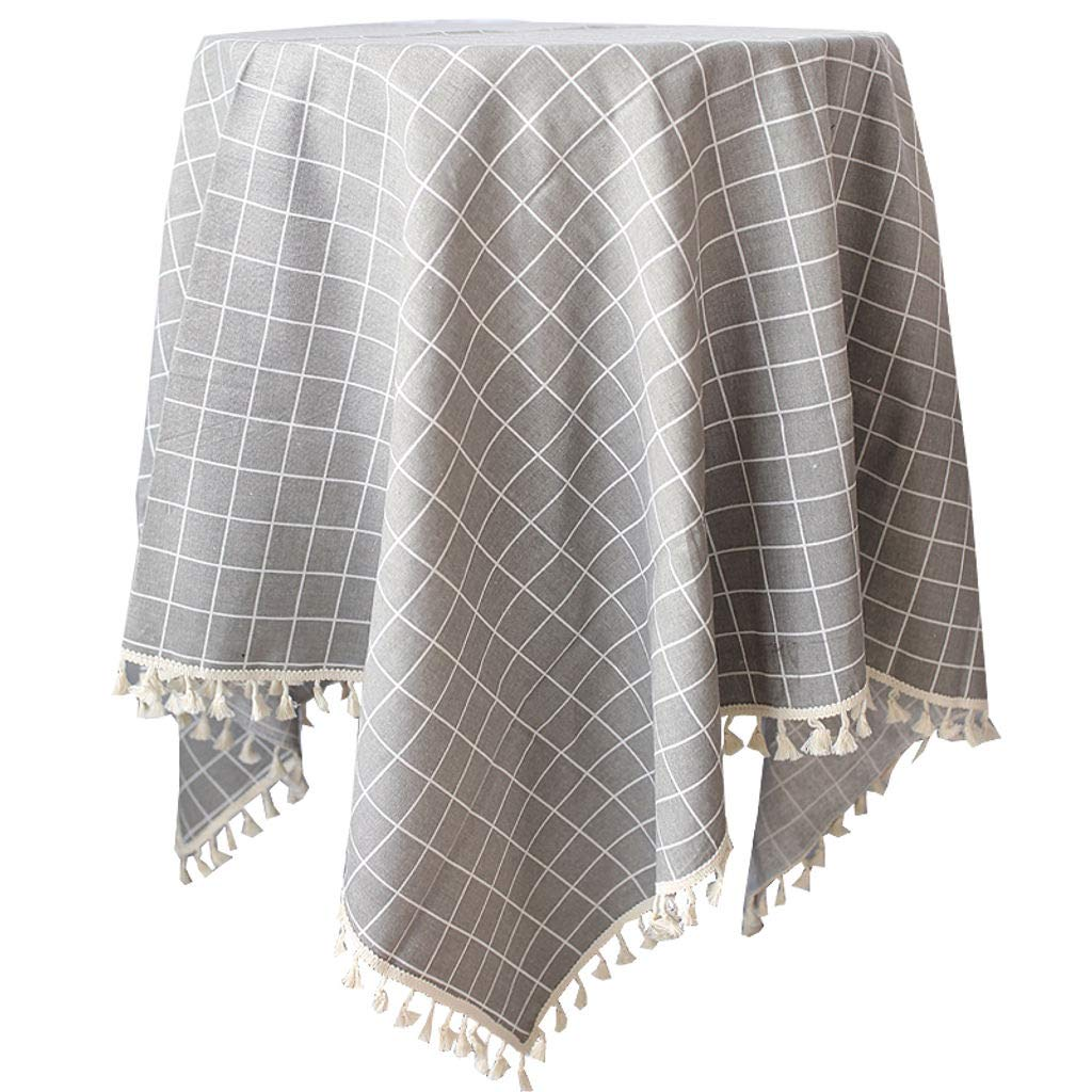 Tablecloth Linen Checked Plaid Table Cloth Dinner Summer Dining Tablecloth Picnic Throw Blanket Table Cover Gingham Check Buffalo Bohemian Checkered Retro Vintage Nappe Carre a Carreaux Pink, 55x55 inches
