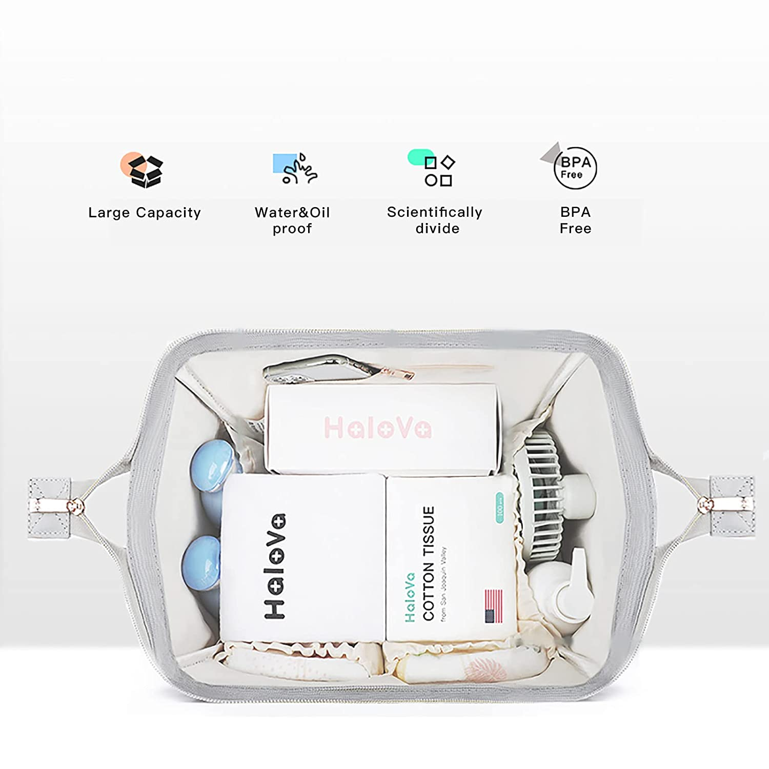 HaloVa Diaper Bag Multi-Function Waterproof Travel Backpack Nappy Bags for Baby Care, Large Capacity, Stylish and Durable, Black