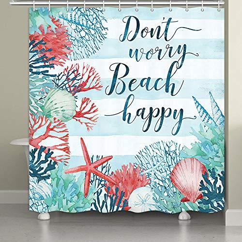Coastal Shower Curtain for Bathroom, Starfish and Seashells Beach Themed Shower Curtains, Beachy Underwaterld Marine Life Print Ocean Themed Bath Curtains, Summer Polyester Fabric Bathroom Curtain