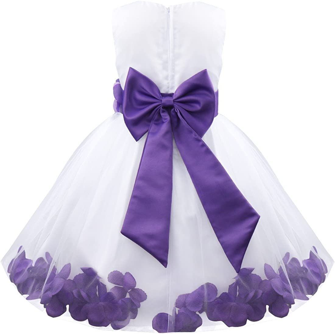 JEATHA Kids Toddler Girls Tulle Petals Princess Dress Formal Wedding Flower Girl Pageant Party Ball Gown