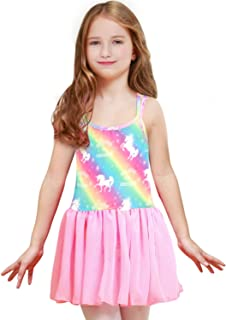 Sylfairy Toddler/Girls Dance Skirts Camisole Leotard with Cute Tutu Dress for Dance Gymnastics and Ballet Unicorn Rainbow