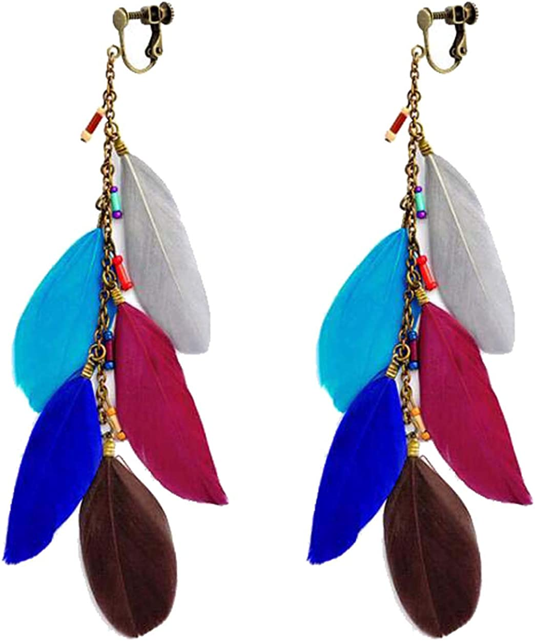 Fashion Colorful Feather Clip on Earrings Retro Dangle Hoops Drop Long Tassel Leaf Beaded Non Pierced Ears for Girls Women Party Birthday Gifts