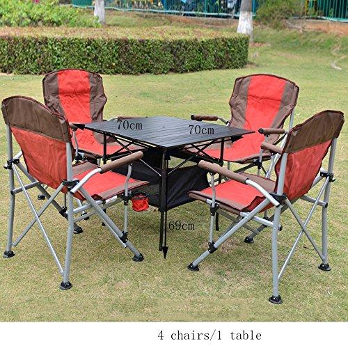 KFXL yizi Klappstuhl Portable Tisch Und Stuhl Kombination Fünf-teilig Im Freien Camping Grill Hoch Zurück Tabelle Und Stühle 3 Farbe Optional (Farbe : A)
