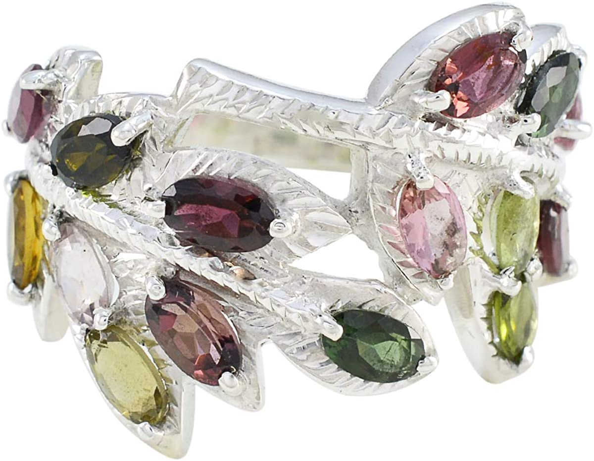 Joyas Plata Nice 現品 Gemstone 超定番 Oval Shape Multi Stone Tourmal Faceted