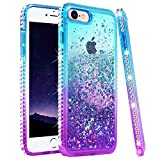 Ruky iPhone 8 Case, iPhone SE 2020 Case, iPhone 7 Case for Girls Women, Colorful Quicksand Series Glitter Bling Diamond Liquid Floating TPU Girly Case for iPhone 6/6s/7/8/SE 2020 4.7' (Teal Purple)
