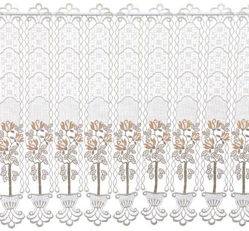 Plauener Spitze by Modespitze, Store Bistro Gardine Scheibengardine mit Stangendurchzug, hochwertige Stickerei, Höhe 62 cm, Breite 112 cm, Creme/Beige/Lachs