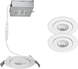 WAC Lighting R4ERAR-W930-WT-2 Lotos 4in Round Recessed Kit 3000K in White (Pack of 2) LED Light Fixture, 2 Pack, Adjustable Gimble, 2 Piece