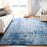 Safavieh Evoke Collection EVK256A Oriental Distressed Non-Shedding Stain Resistant Living Room Bedroom Area Rug, 9' x 12', Navy / Ivory