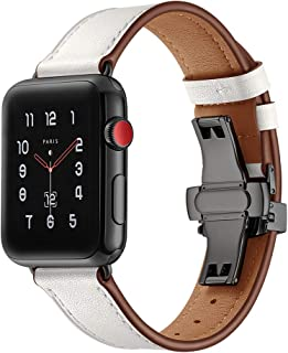 BONSTRAP Compatible with Apple Watch Band 38mm 40mm 42mm 44mm Leather Watch Band for Iwatch Series 1 2 3 4