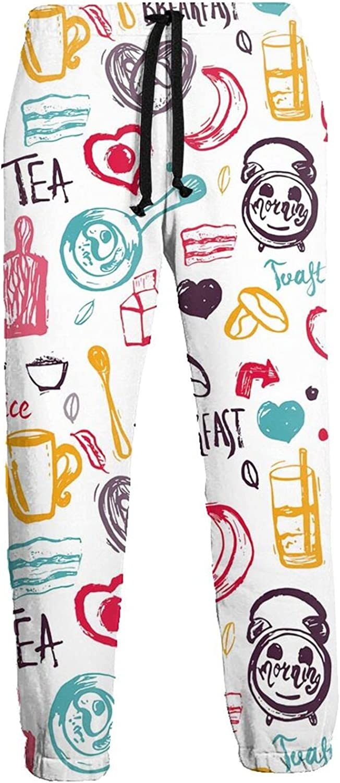 Men's Jogger Sweatpants Banana Tea Breakfast Drink 3D Loose Joggers Pants with Drawstring Long Pants