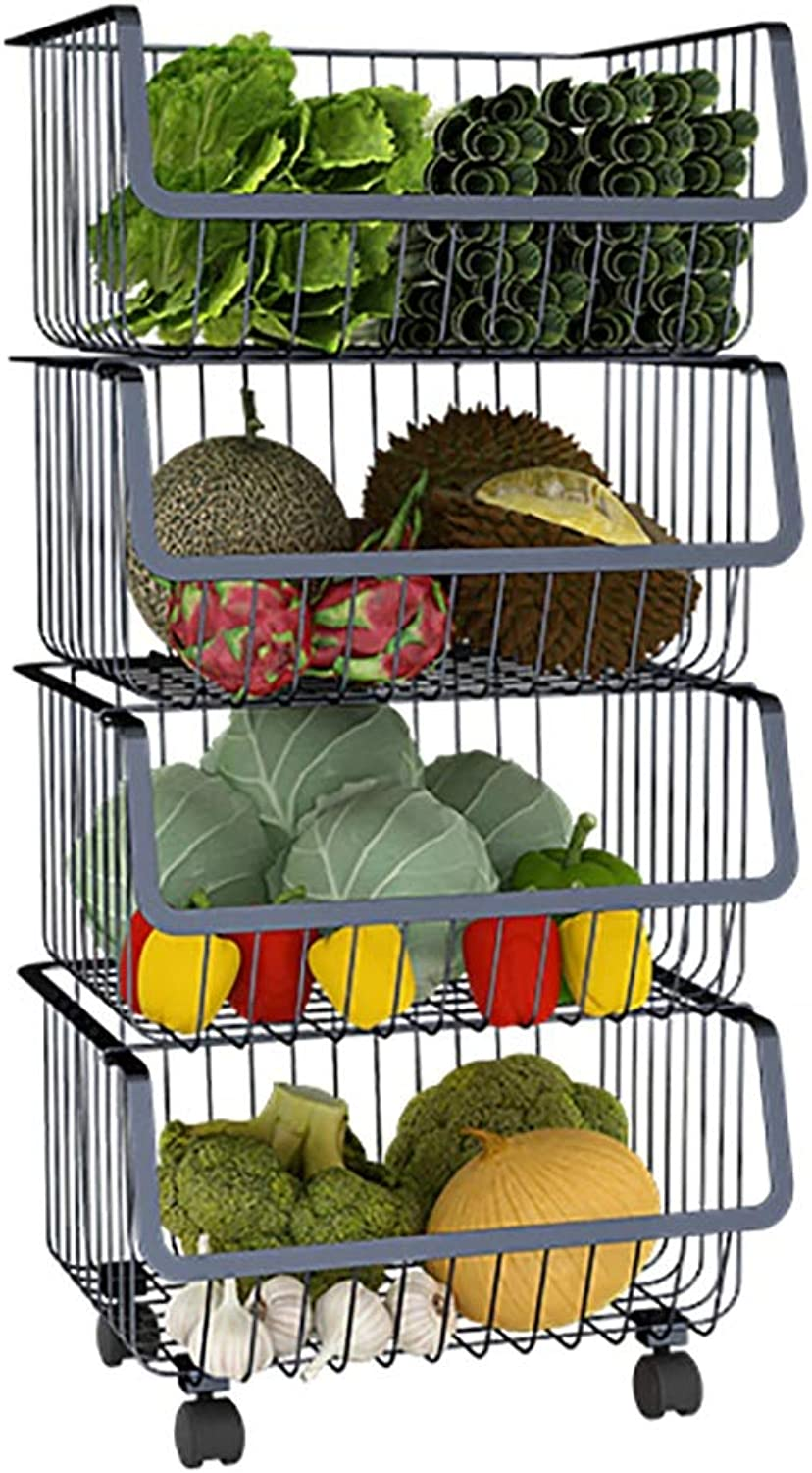 Multi-Layer Kitchen Storage Rack, Metal Pulley Easy to Move Kitchen Bathroom and Balcony (Size   C)