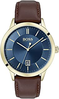 BOSS Men's Officer Quartz Gold Plated and Leather Strap Casual Watch, Color: Brown (Model: 1513685)