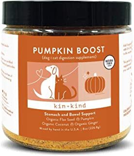 kin+kind Organic Pumpkin Boost Digestion Pet Supplement - Stomach and Bowl Support for Dogs and Cats - Safe, Natural Formu...