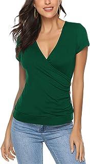 Shallood Magliette Donna Manica Corta T-Shirt Magliette Sexy per Scollo V Top Casual Estiva Tinta Unita Avvolgente Croce ...