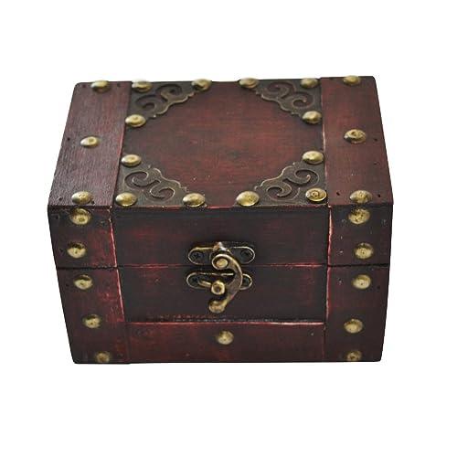 EAST-WEST Trading GmbH Pirate Coffre au trésor, rectangulaire en Bois, Petit Coffre à trésor Pirate Coffre, boîte à Bijoux–Aussi pour Argent des Cadeaux, etc.