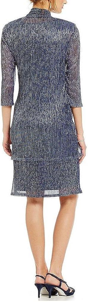 RM Richards Women's 2 Piece Metallic Knit Jacket Dress