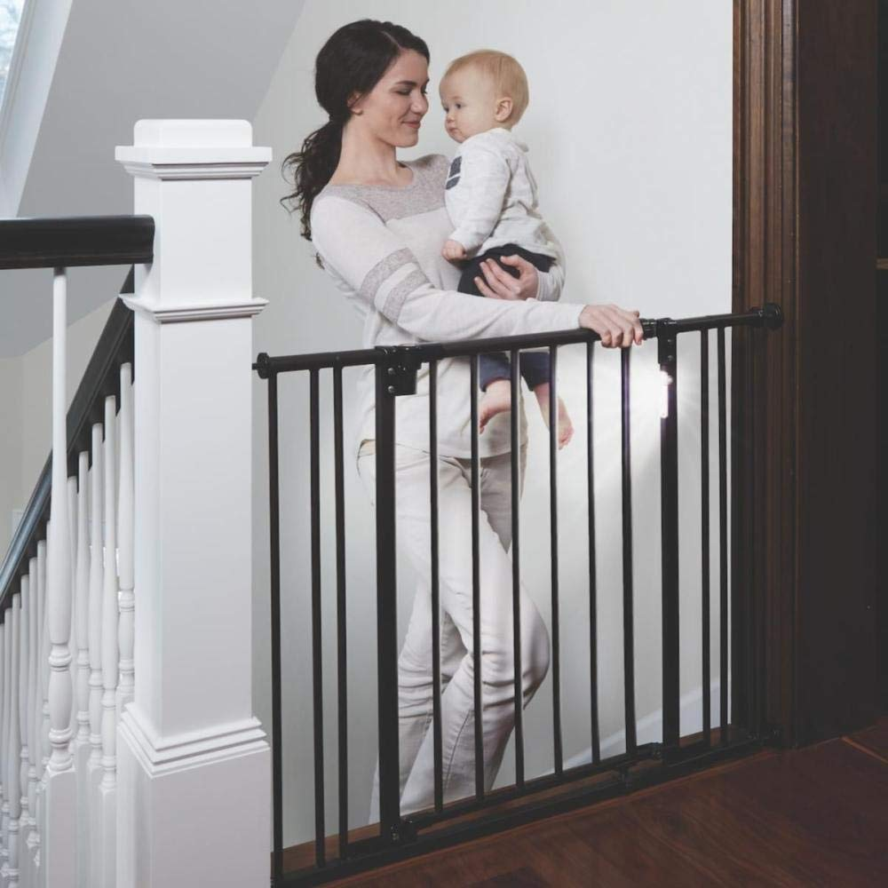 """Toddleroo by North States 38.25"""" Wide Light The Way BabyGate: Heavy Duty Metal gate with Light Sensing LED for Added Safety. Pressure or Hardware Mount. Fits 28.75"""