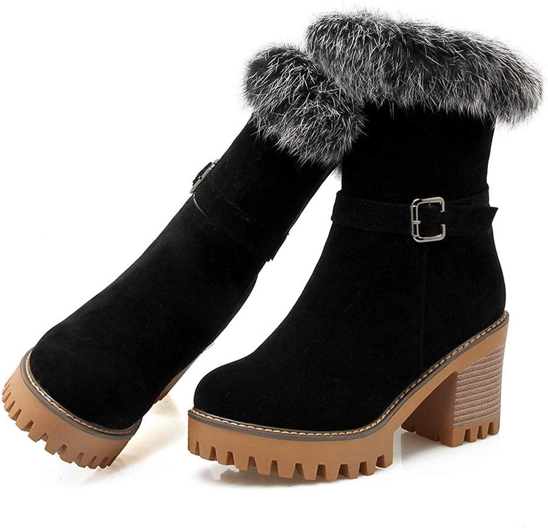 KONAME Woman Snow Boots Large Size 32-43 Winter Warm Plush Women shoes Woman High Heels Platform Fur Mid Calf Flock Round