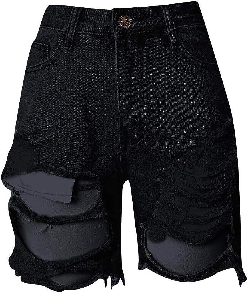 Denim Shorts for Women,Women's Juniors Mid Rise Jean Shorts Folded Hem Denim Slim Hole Shorts for Women