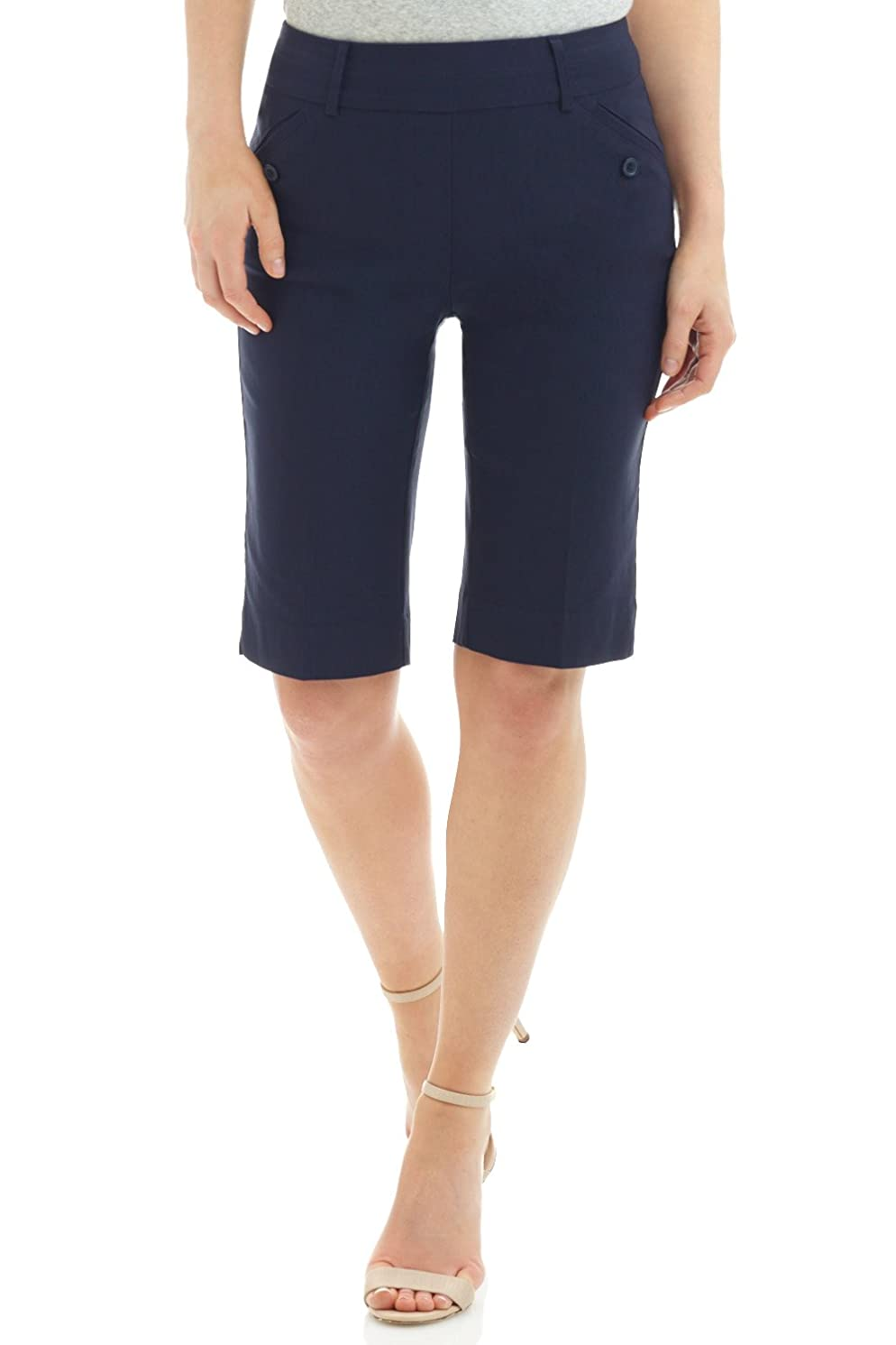 Rekucci Women's Ease in to Comfort Fit Modern Pull On Bermuda Short with Pockets