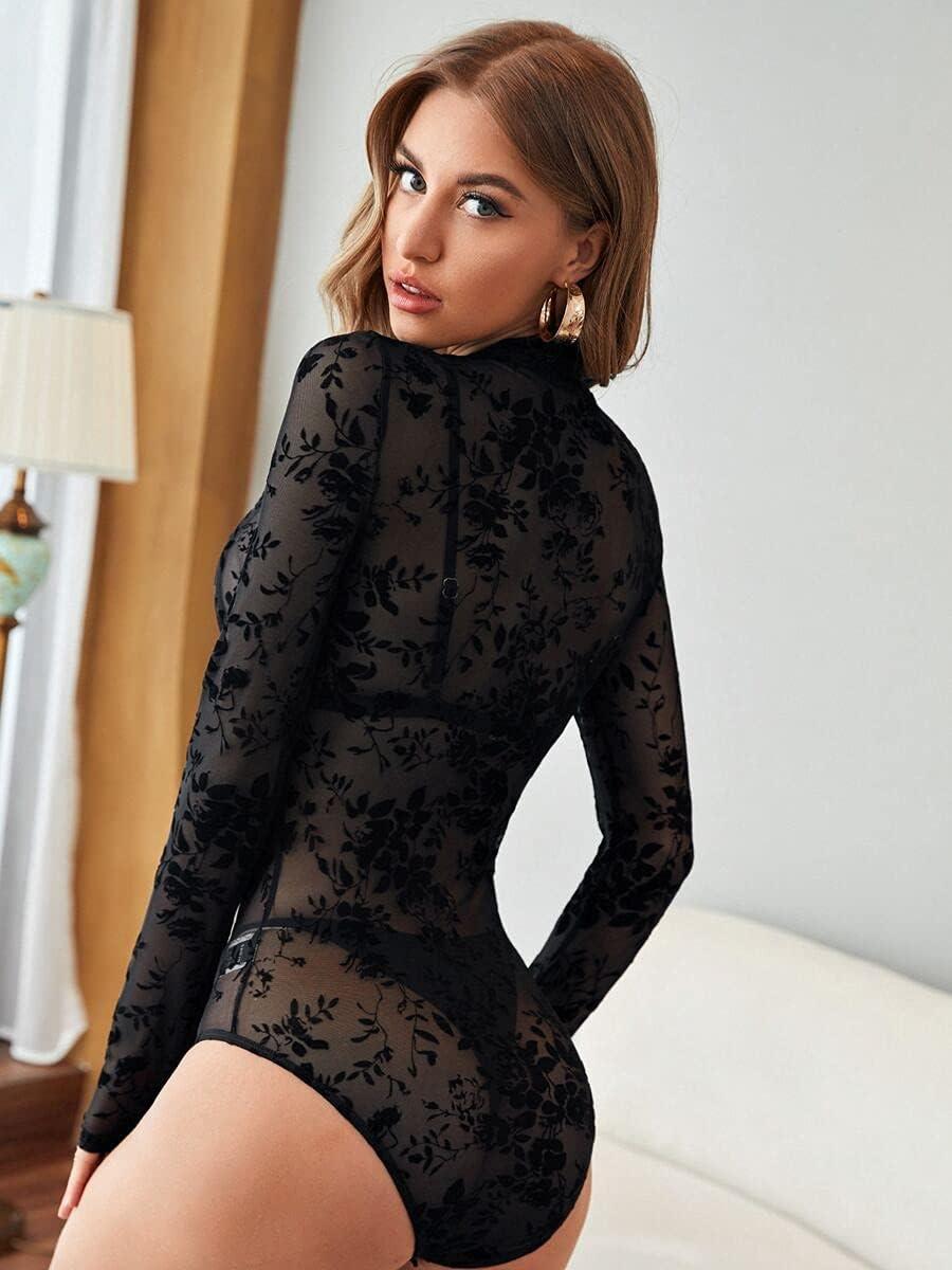 JYMBK Lace Jumpsuit Mock Neck Flocked Floral Mesh Sheer Bodysuit (Color : Black, Size : XS)