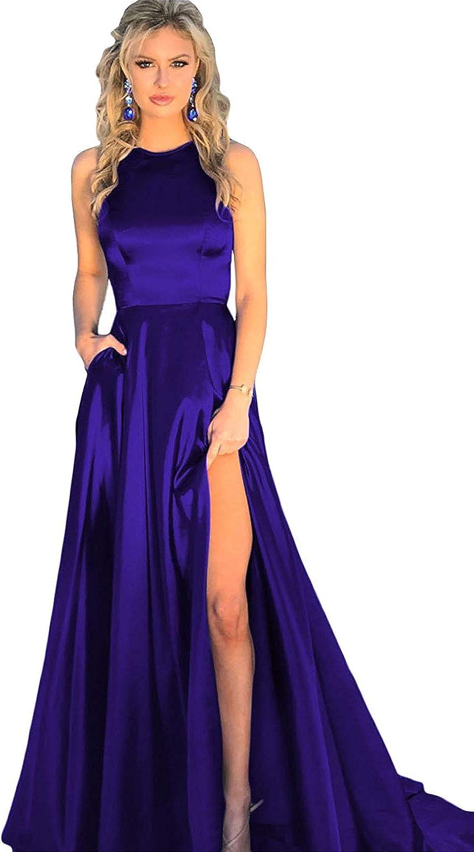 JINGDRESS Crew Neck Satin Prom Evening Dresses Side Split Formal Party Dresses Maxi Backless Bridal Dresses