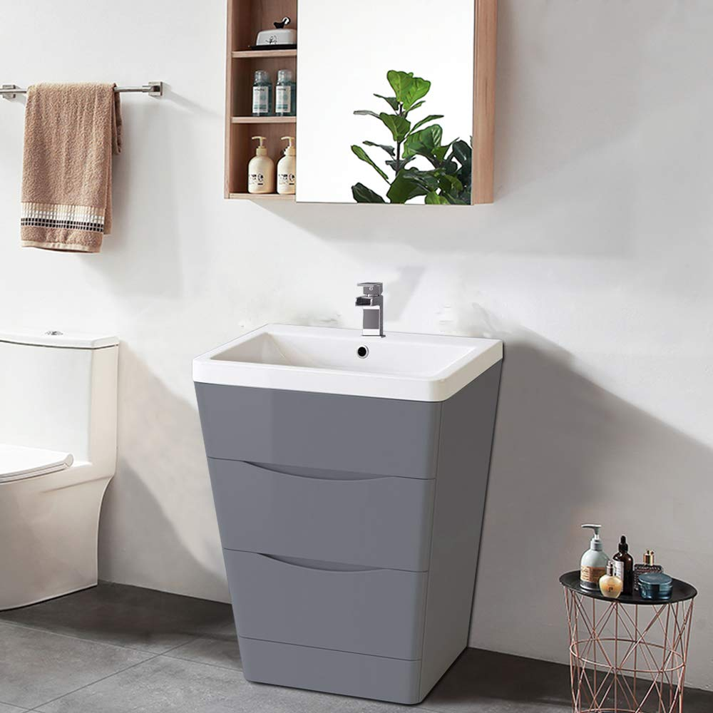 NRG 10mm Gloss Grey 10 Drawer Floor Standing Bathroom Cabinet Storage  Furniture Vanity Sink Unit