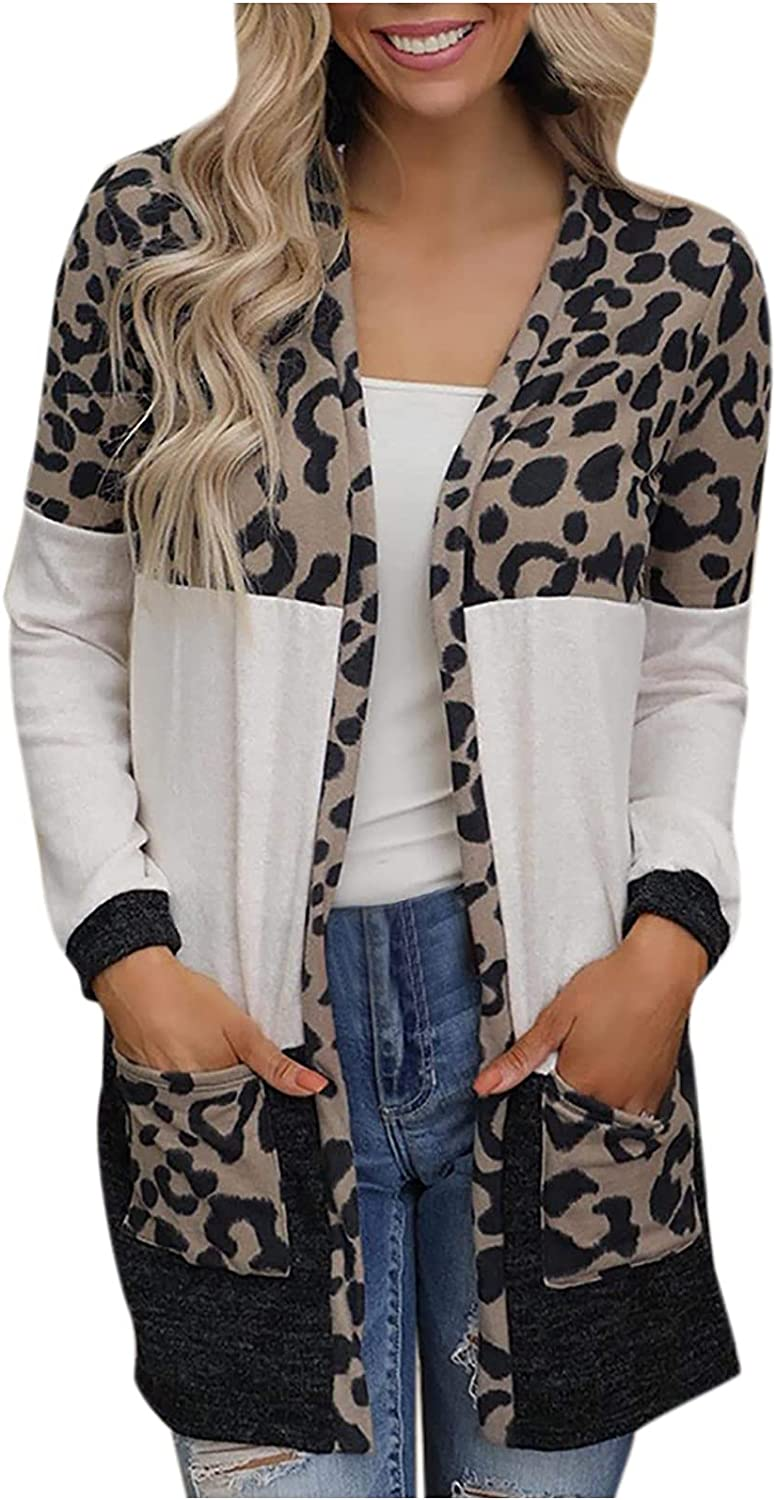 Leopard Patchwork Cardigan for Women Long Sleeve Sweater Shirts Fashion Open Front Cardigan Pocket Jacket