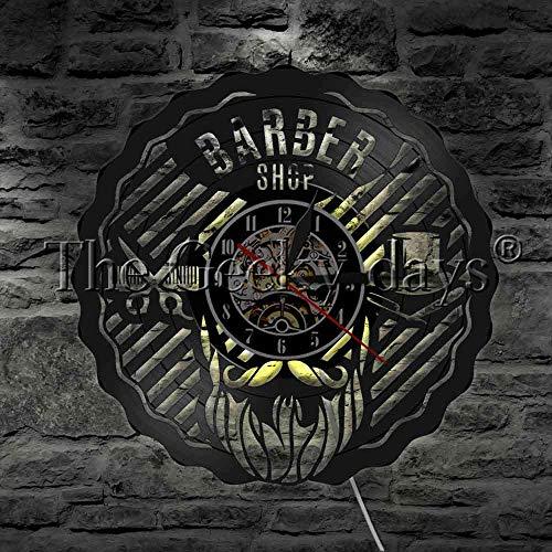 fdgdfgd De Pared con Disco de Vinilo LED de salón de Belleza de peluquería de diseño de Reloj   Regalo de Reloj de Pared con Registro de música