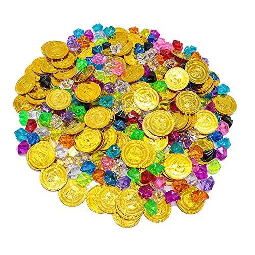 ZoneYan Monedas Oro Juguete, 100 Monedas de Oro Pirata, 100 Gemas de Colores Piratas, Monedas de Oro...