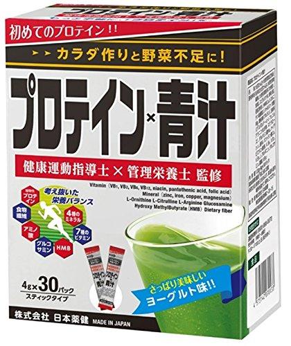 日本薬健 プロテイン×青汁 ヨーグルト味 スティックタイプ 120g(4g×30パック)