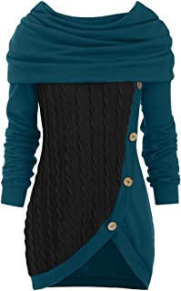 Lataw Plus Size Tops for Women Ladies Blouses O-Neck Long Sleeve Winter Warm Solid Botton Patchwork Asymmetric Sweater Sweatshirt