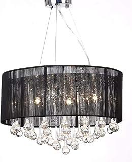 Lámpara Colgante de luz de Techo de Cristal, Base E27, 50 x 45cm, Lámpara de Araña de Cristal con Pantalla Negra, Decoración del Hogar, Salón, Hotel