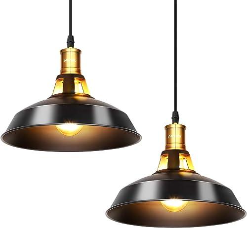 Albrillo Lot de 2 Suspension Luminaire Industrielle, Φ27 cm pour ampoules E27, Plafonnier Rétro en Noir Classique ave...