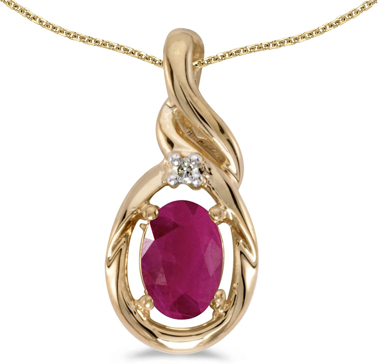 14k Yellow Gold Oval Ruby And Diamond Pendant with 18