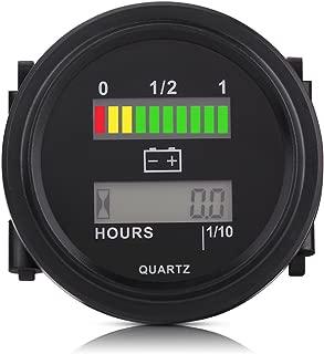 Acouto 12V/24V/36V/48V/72V LCD Digital Battery Capacity Monitor Gauge with Hour Meter for Golf Cart